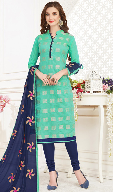 Banarasi Jacquard Churidar Suit in Sea Green and Navy Blue Color