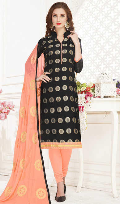 Banarasi Jacquard Churidar Suit in Black and Light Peach Color