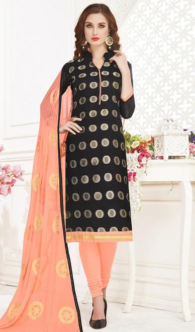 Banarasi Jacquard Churidar Suit in Black and Light Peach Color