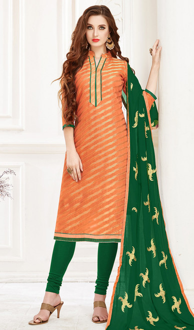 Banarasi Jacquard Churidar Suit in Orange and Green Color