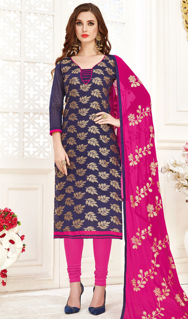 Banarasi Jacquard Churidar Suit in Navy Blue and Pink Color