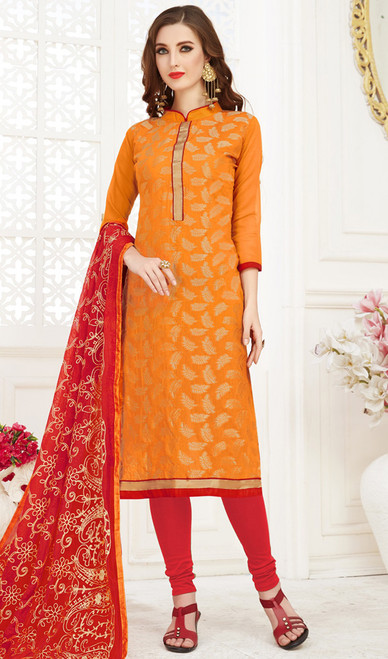 Banarasi Jacquard Churidar Suit in Orange and Red Color
