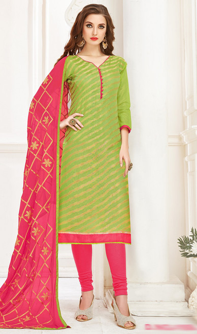 Banarasi Jacquard Churidar Suit in Parrot Green and Peach Color