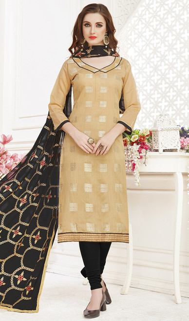 Banarasi Jacquard Churidar Suit in Beige and Black Color