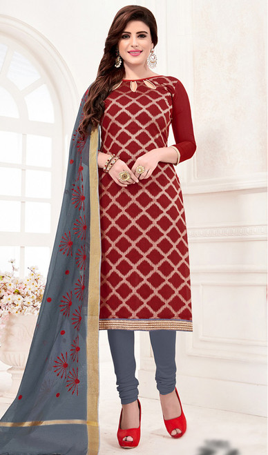 Banarasi Jacquard Churidar Suit in Maroon and Gray Color