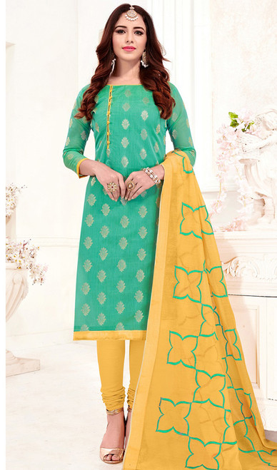 Banarasi Jacquard Churidar Dress in Sea Green and Yellow Color