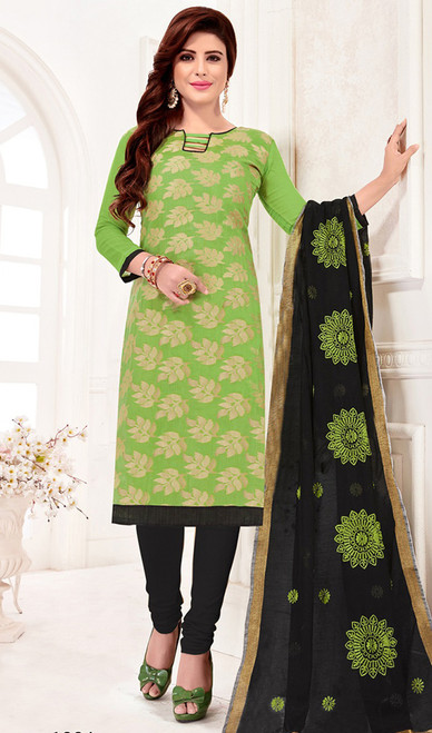 Banarasi Jacquard Churidar Dress in Parrot Green and Black Color