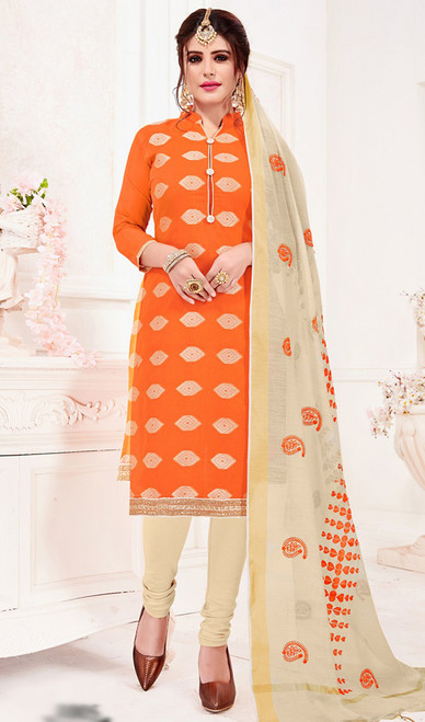 Banarasi Jacquard Churidar Suit in Orange and Cream Color