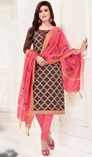 Banarasi Jacquard Churidar Dress in Brown and Coral Color