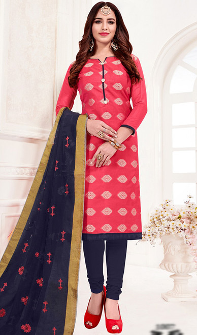 Banarasi Jacquard Churidar Suit in Peach and Navy Blue Color