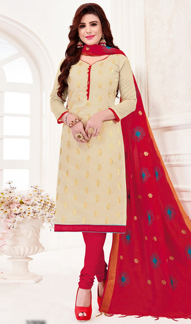 Banarasi Jacquard Churidar Dress in Cream and Red Color