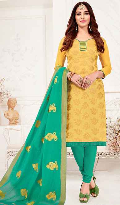 Banarasi Jacquard Churidar Dress in Light Yellow and Sea Green Color