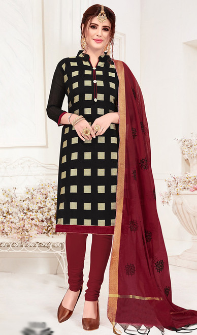Banarasi Jacquard Churidar Suit in Black and Maroon Color