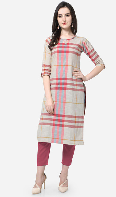 Off White and Red Color Printed Cotton Kurti
