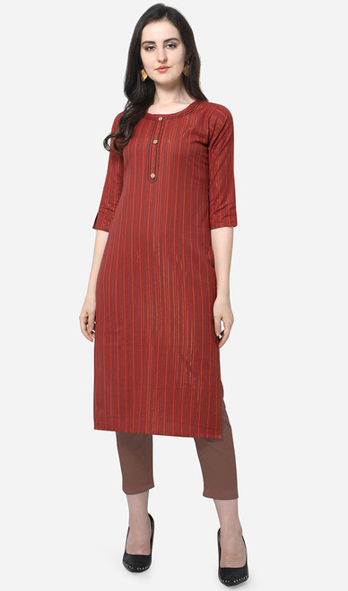 Printed Cotton Dark Red Color Kurti