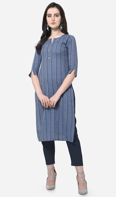 Printed Cotton Blue Color Kurti