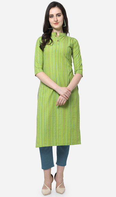 Printed Cotton Grenn Color Kurti