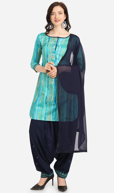 Aqua Blue and Navy Blue Color Cotton Printed Punjabi Suit