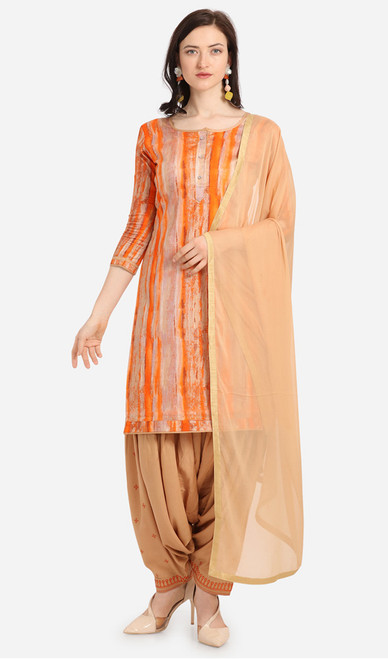 Orange and Beige Color Cotton Printed Punjabi Suit