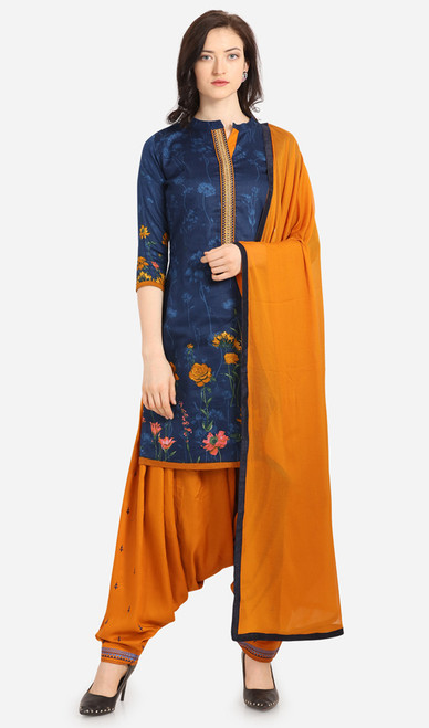 Navy Blue and Mustard Color Cotton Printed Punjabi Suit