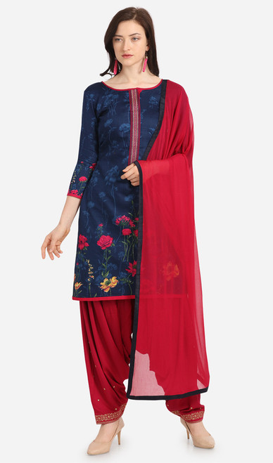 Navy Blue and Red Color Cotton Printed Punjabi Suit