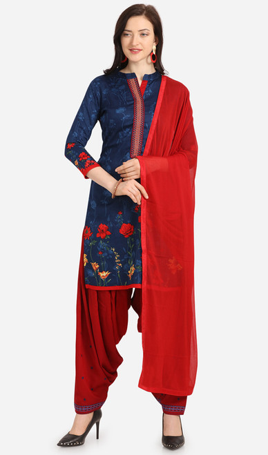Cotton Printed Navy Blue and Red Color Punjabi Suit