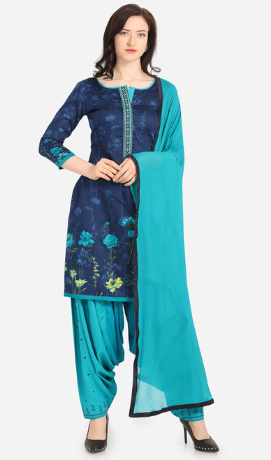 Navy Blue and Sky Blue Color Cotton Printed Punjabi Suit