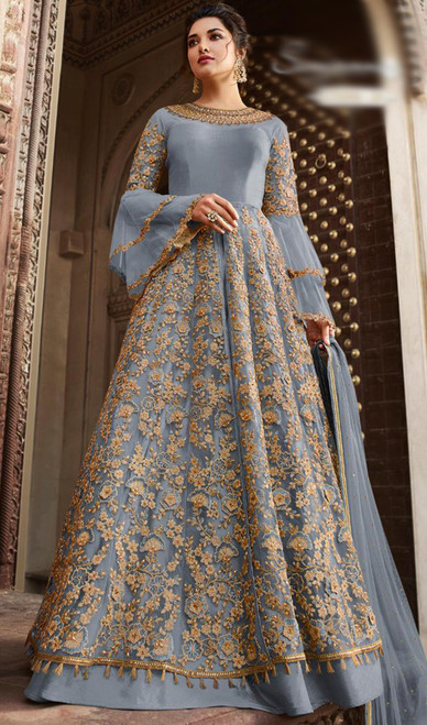 Net Embroidered Anarkali Dress in Aqua Blue Color