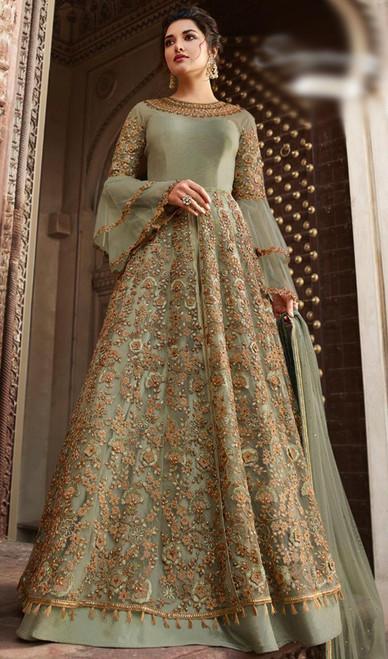 Net Olive Color Embroidered Anarkali Suit