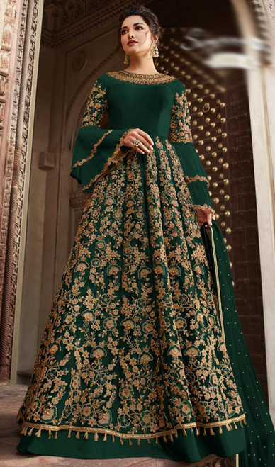 Net Embroidered Anarkali Dress in Bottle Green Color