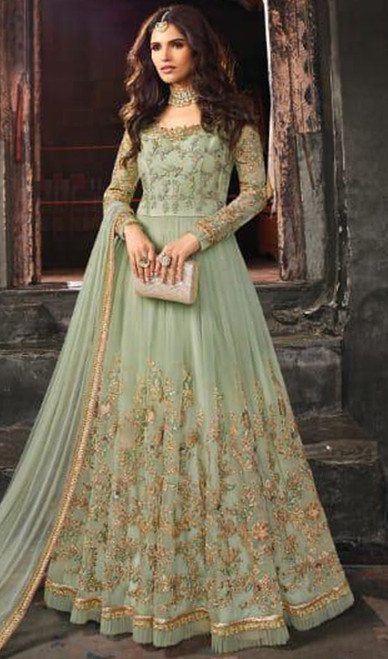 Net Embroidered Anarkali Suit in Sea Green Color