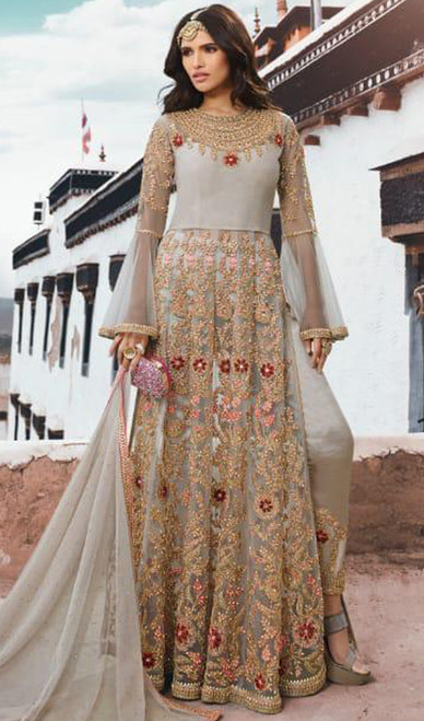 Net Embroidered Pant Style Suit in Light Gray Color