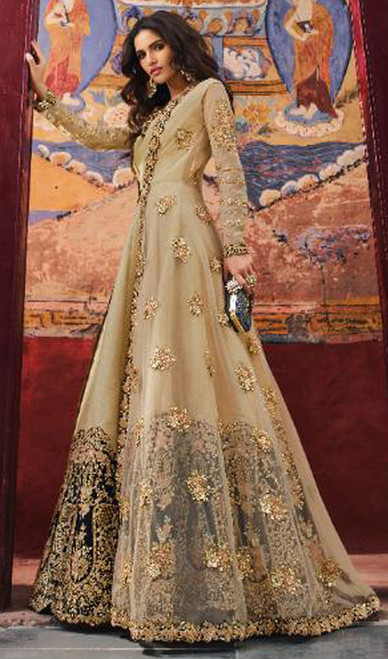 Georgette Embroidered Anarkali Suit in Beige Color