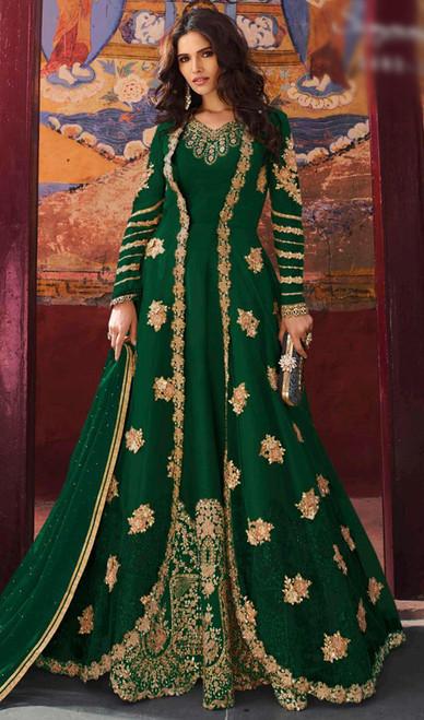 Georgette Embroidered Fancy Anarkali Dress in Green Color