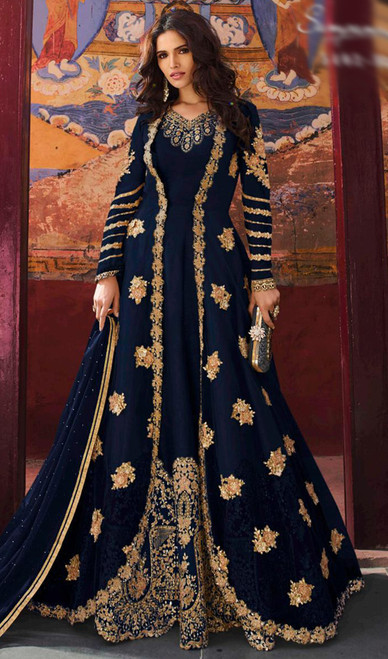 Georgette Navy Blue Color Embroidered Anarkali Dress