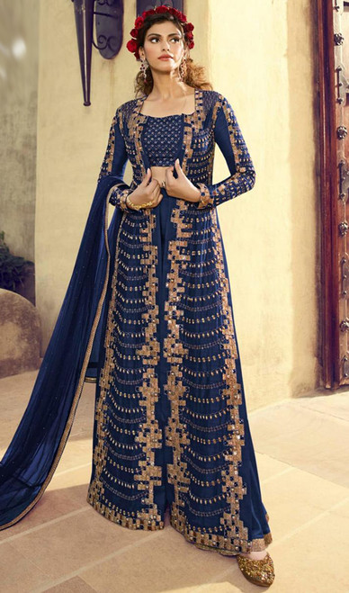 Georgette Embroidered Palazzo Dress in Blue Color