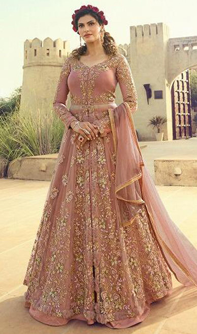 Net Embroidered Lehenga Suit in Baby Pink Color