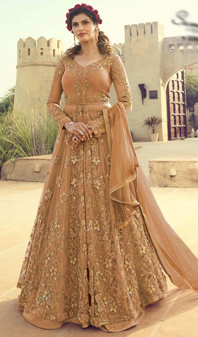 Net Embroidered Lehenga Suit in Light Brown Color