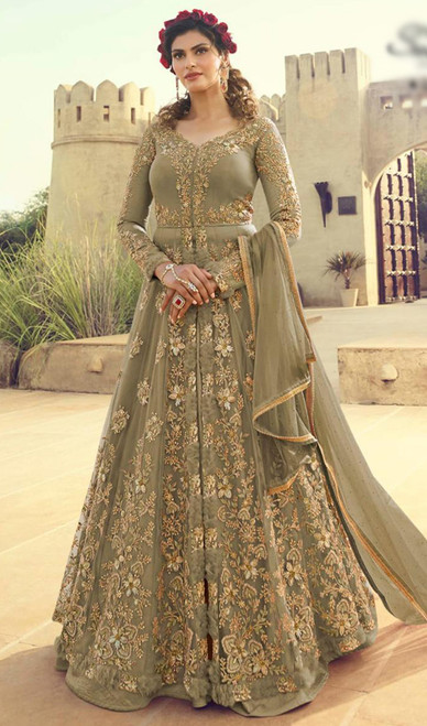 Net Embroidered Olive Color Lehenga Dress