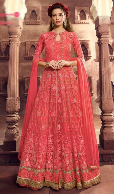 Rust Color Net Embroidered Lehenga Dress