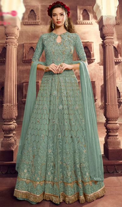 Net Embroidered Lehenga Suit in Sky Blue Color