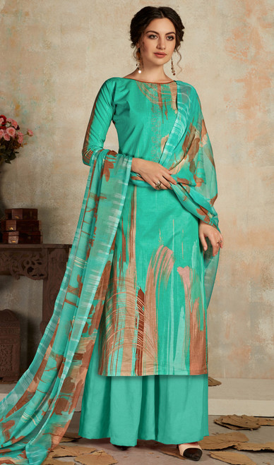 Cambric Cotton Printed Multicolor Palazzo Suit