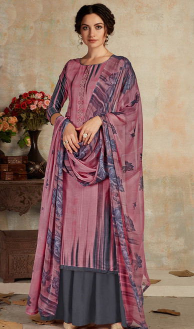 Cambric Cotton Printed Palazzo Suit in Multicolor
