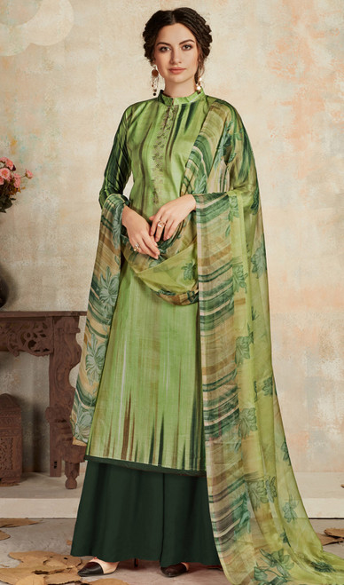 Multicolor Cambric Cotton Fancy Printed Palazzo Suit