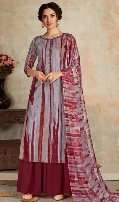 Multicolor Cambric Cotton Stylish Printed Palazzo Suit