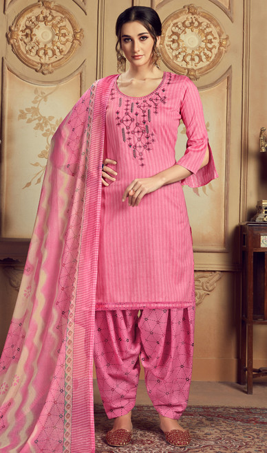 Jam Cotton Embroidered Patiala Suit in Baby Pink Color