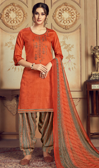 Jam Cotton Embroidered Patiala Suit in Orange Color