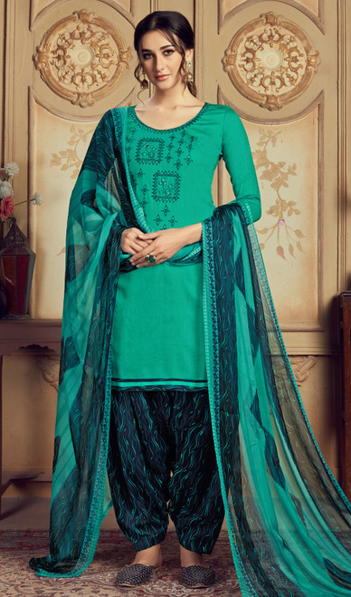 Jam Cotton Embroidered Patiala Suit in Sea Green Color