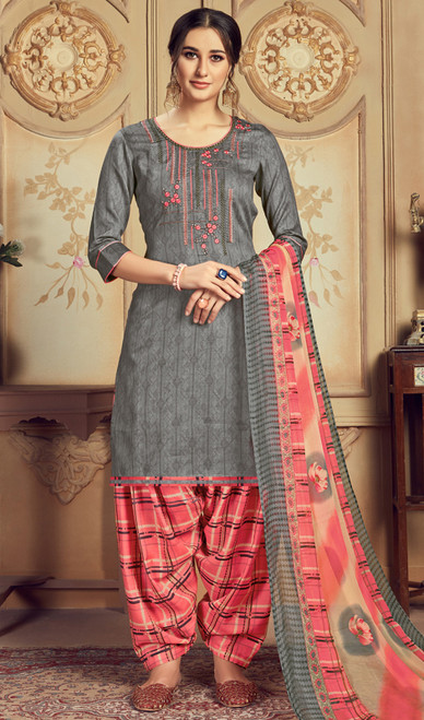 Jam Cotton Embroidered Patiala Suit in Steel Gray