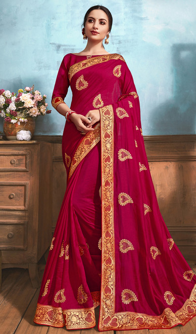 Silk Embroidered Saree in Magenta Pink Color